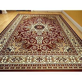area rug traditional persian design 5x7 rug burgundy rug cream beige 5x8 red carpet. Black Bedroom Furniture Sets. Home Design Ideas