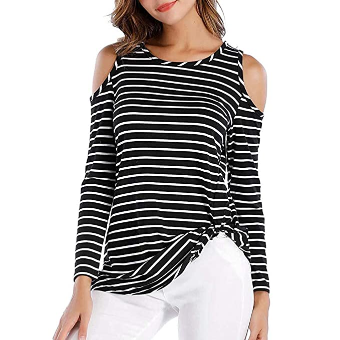 4d67c51576 Womens Cold Shoulder Long Sleeve Twist Knot Blouses Striped T Shirt Tops at Amazon  Women's Clothing store: