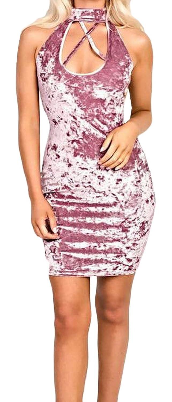 Winwinus Women's Wild velvet Bodycon Sexy Club Dress Short Dress Pink S