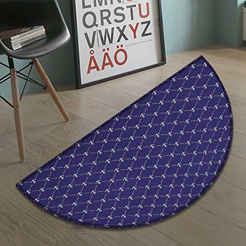 homefeel Anchor Half Round door mats for inside Checkered Pattern with Stylized Chain and Marine Icon Ocean Cruise Vacation Bath Mat for tub Bathroom Mat Royal Blue White size:31.5