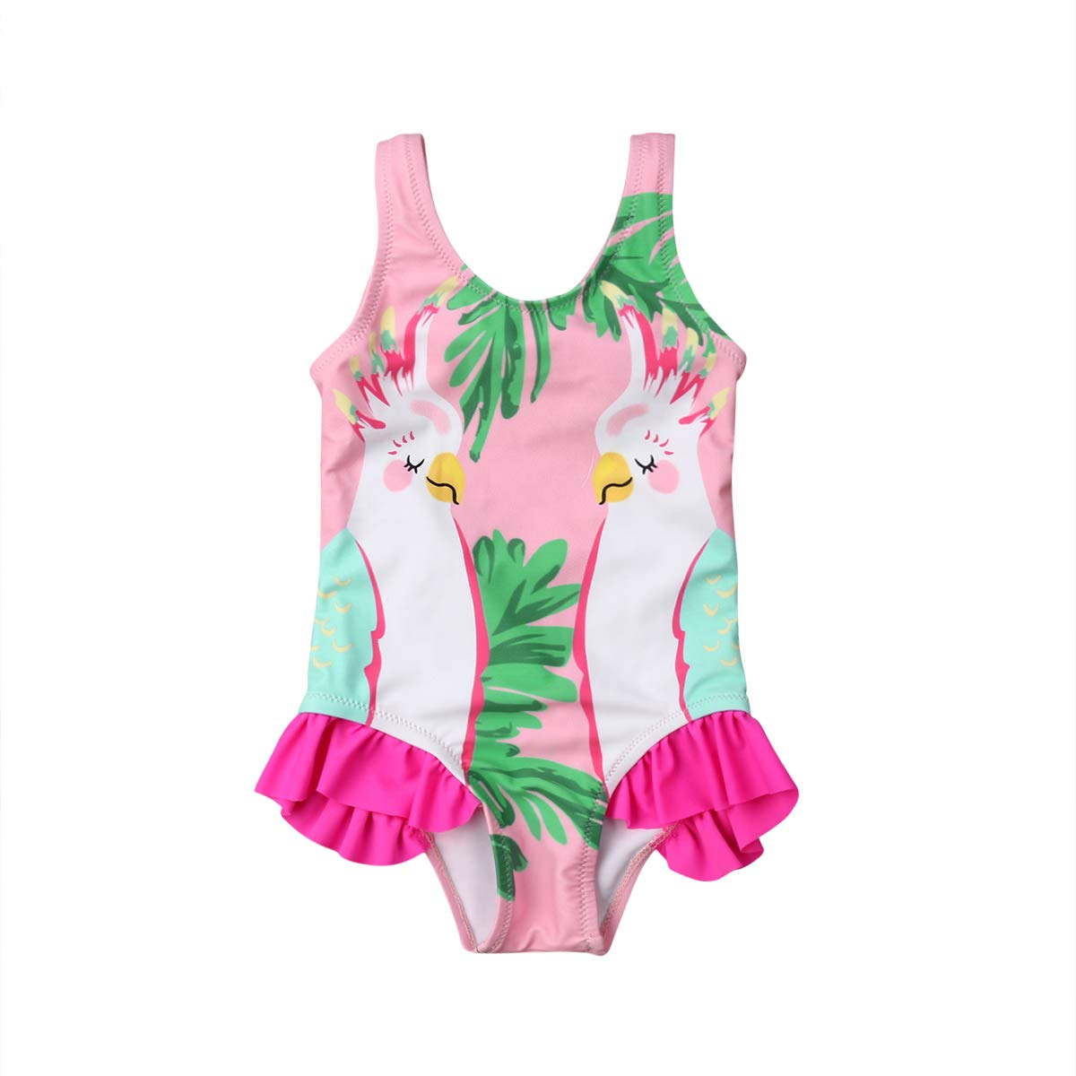 32004ed8a79a2 Amazon.com: Infant Baby Girl Swimsuit Cute Flamingo Swimwear Floral Pink Bathing  Suit One Piece Bikini Beach Wear for Toddler: Clothing