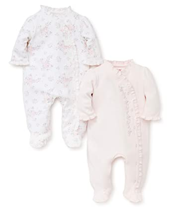 5a268df78f61 Amazon.com  Little Me Baby Girls  2 Pack Footie  Clothing