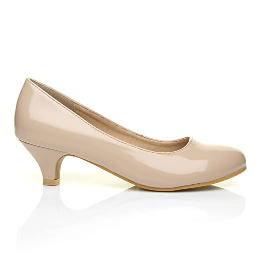 CHARM Nude Patent PU Leather Low Heel Round Toe Comfort Court ...