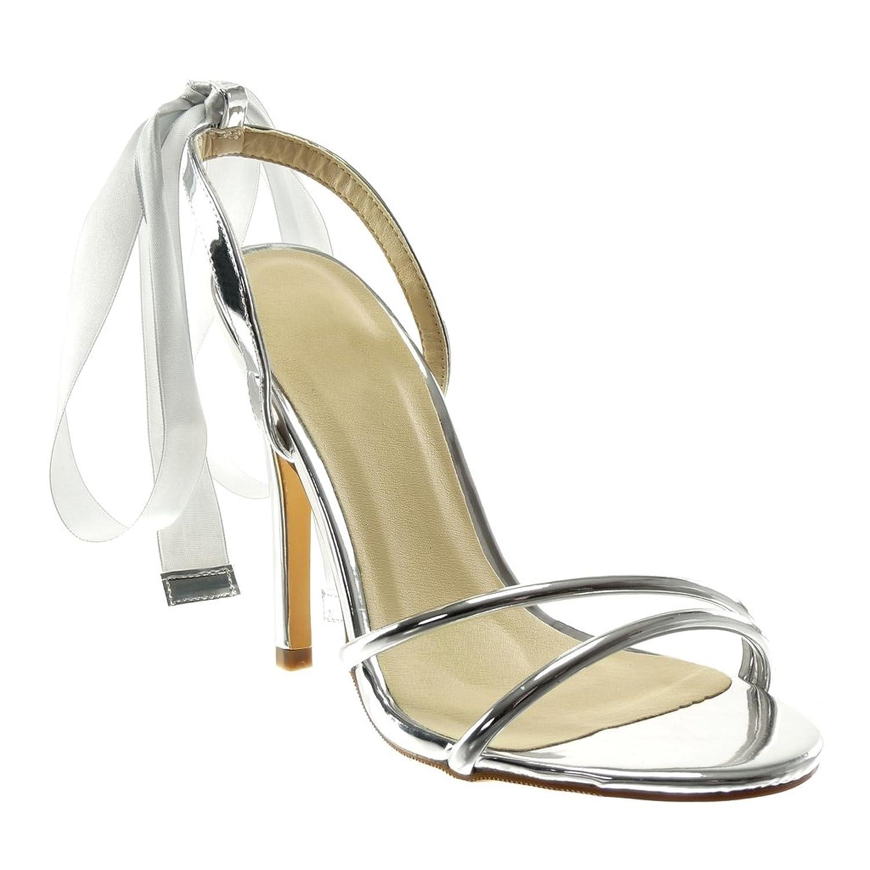 Angkorly Damen Schuhe Sandalen Pumpe - Stiletto - Sexy - Schick - Schnürsenkel Aus Satin - Patent Stiletto High Heel 12.5 cm Silber