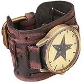 Nouveau style rétro punk rock grand bracelet en cuir large,Brown