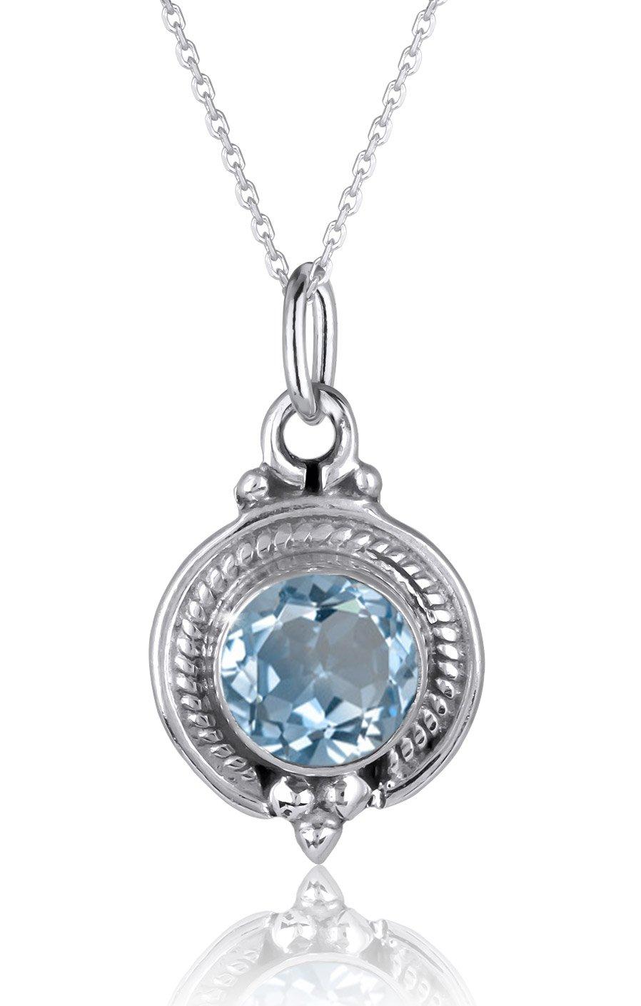 Runder blauer topas anhä nger mit Silber gesetzt-Inklusive kette
