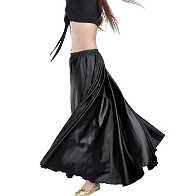 "Indian Trendy Women's Satin Full Circle Swing Halloween Belly Dance Tribal Skirt One Size: 36"" Black at Women's Clothing store"