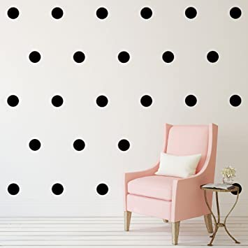 Black Polka Dots Wall Decals (6u201d  32 Decals) Removable Peel And Stick