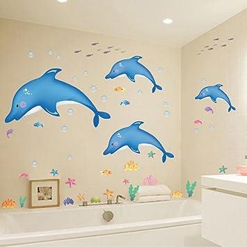 Hldiy Blue Dolphin Fish Bathroom Wall Stickers Kids Nursery Room Decor Sea Ocean