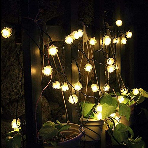 TechCode Fairy Garden Lighting, Waterproof Solar Powered LED Fairy Lamps String Lights Fur Snow Ball Light for Indoor/Outdoor Patio, Garden, Home, Wedding, Pathway, Party Decorations (Warm ()