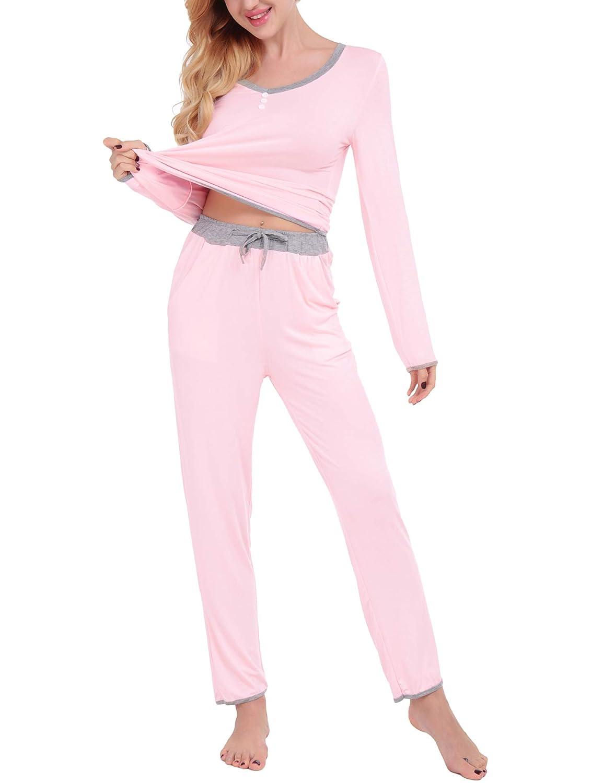 Dromild Women's V-Neck Pajama Set Long Sleeve Top Pants 2 Piece Pj Loungewear