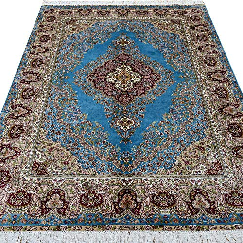 Yilong 4'x6' Hand Knotted Persian Silk Rug Traditional Oriental Qum Carpet Blue Handmade Living Room Area Rug