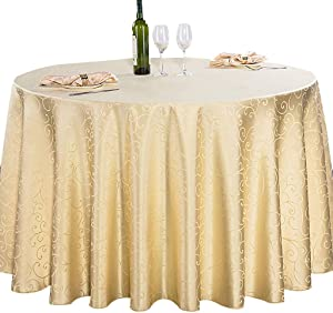 NuAnYI Tablecloth Solid Color Round, Waterproof Jacquard Polyester Table Cloth Dining Table Cover for Wedding Restaurant Party-Gold 160x160cm(63x63inch)