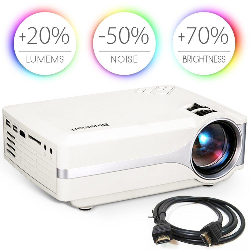 Blusmart LED-9400 Video Projector, 2018 Upgraded +70% Brightness Portable Mini Projector with Full HD 1080P for Home Theater, -50% Noise, Compatible with Fire TV Stick HDMI/USB/SD Card/XBOX by Blusmart