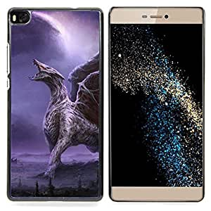 Dragon Wings Purple Lightning Wings Caja protectora de pl??stico duro Dise?¡Àado King Case For HUAWEI P8