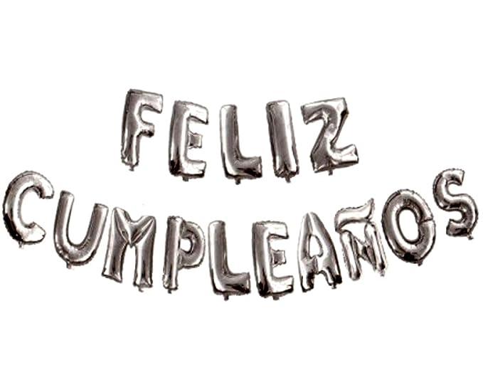 FIESTADEKOR Cartel Letras Globos Feliz cumpleaños en español. Medida 36 cm x 360 cm