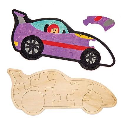 Baker Ross Puzzle in legno con macchinine da corsa ...
