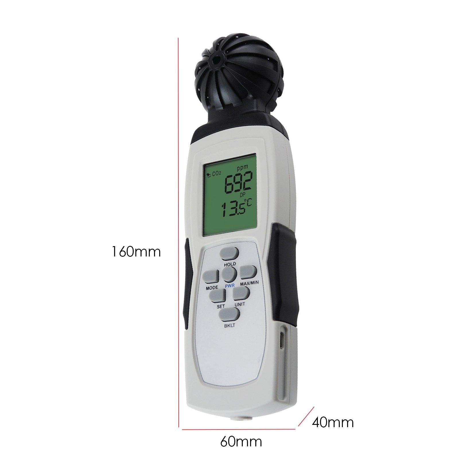 Carbon Dioxide Sensor Meter Tester 9999ppm CO2 Temperature RH Measurement by Gain Express (Image #9)