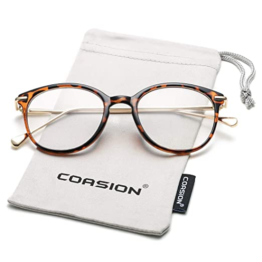5d280c0c534 COASION Vintage Round Clear Glasses Non-Prescription Eyeglasses Frames for  Women Men (Tortoise