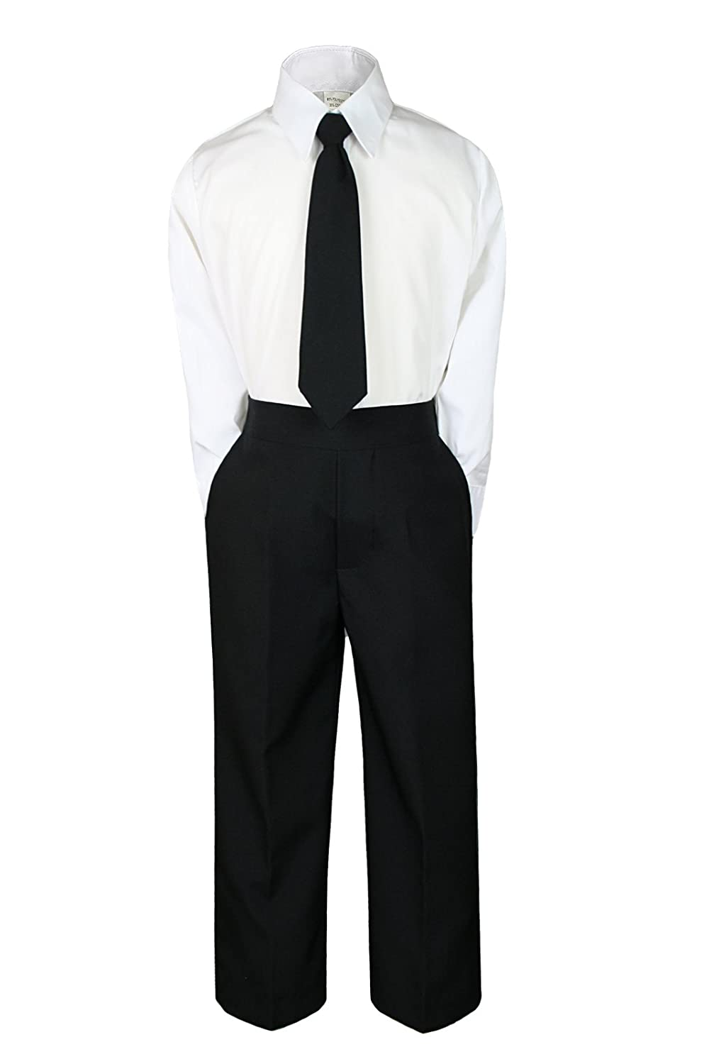 5 3pc Formal Wedding Boys Black Necktie Sets Suits Outfits Baby to Teen S-7