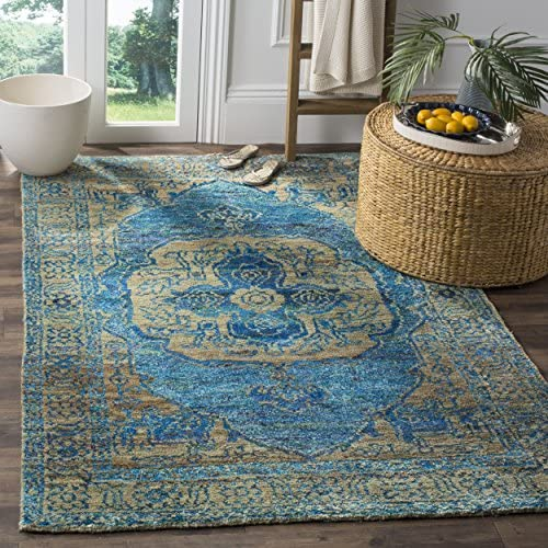 Safavieh Tangier Collection TGR603B Hand Knotted Teal and Beige Viscose Area Rug 8 x 10