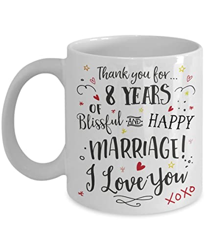 8th Wedding Anniversary.Amazon Com 8th Wedding Anniversary Gift Mug Blissful