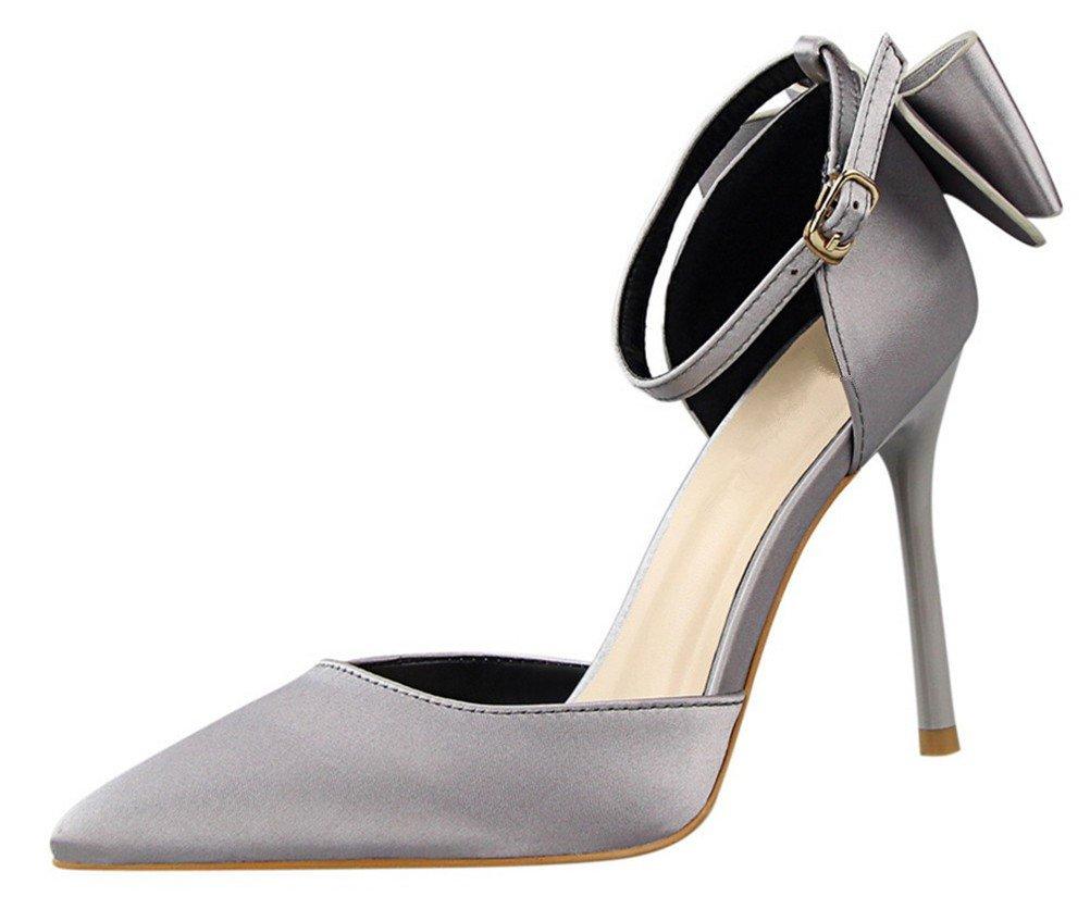 MMJULY Women's Pointed Toe Ankle Strap Bow Stiletto High Heel Satin Wedding Dress Pumps Grey US 11
