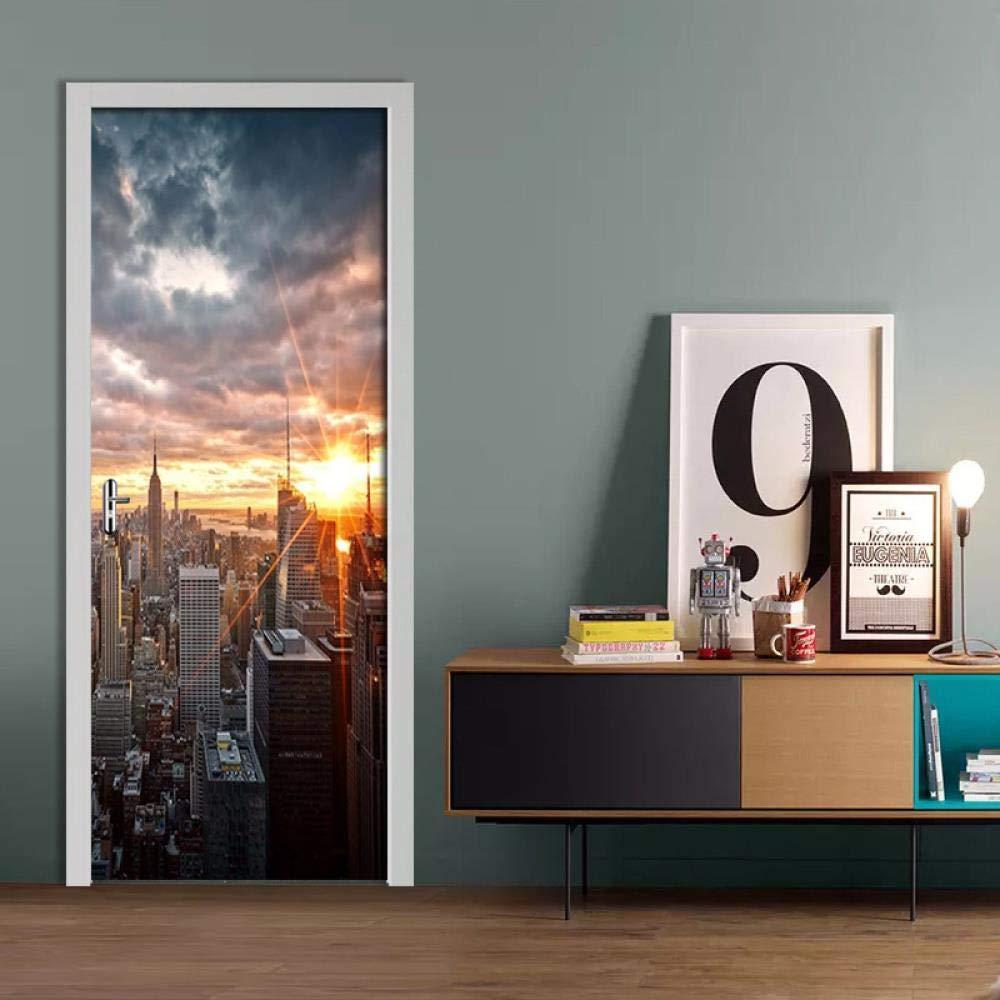 FCFLXJ 3D Pegatinas de puerta en Nueva York 90X200CM 3D ...
