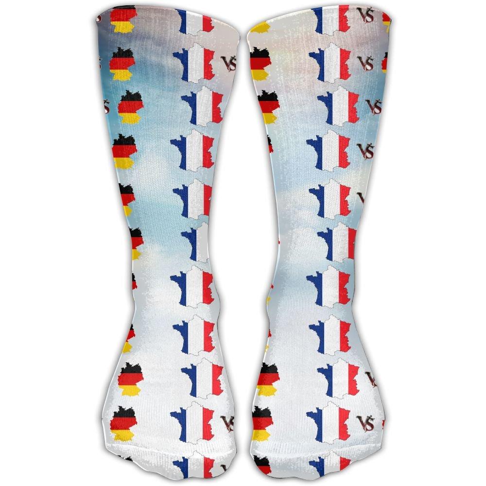 6c68c2046eb Amazon.com  JINYIPI Knee High Socks France Vs Germany Novelty Athletic Crew  Funny Tube Work Out Stockings With One Size 30cm  Clothing
