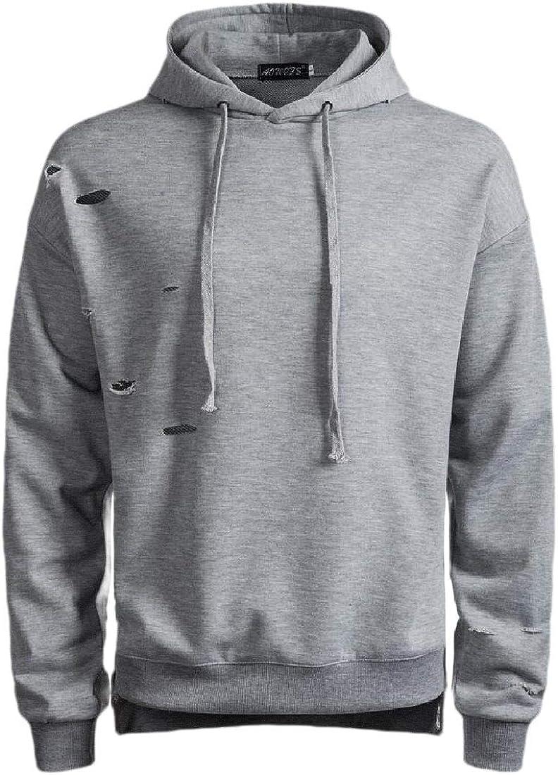 CYJ-shiba Men Warm Casual Loose Ripped Hole Pocket Hoodie Pullover Sweatshirts
