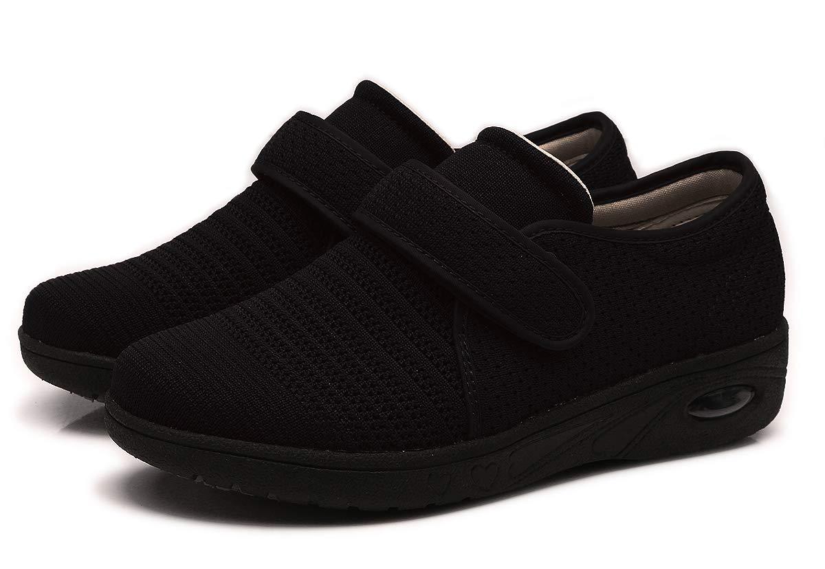 Mei MACLEOD Women Arthritis Edema Adjustable Closure Diabetic Swollen feet Shoes (9, Black)