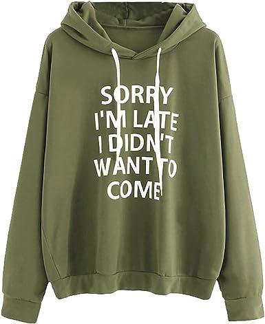 Sweatshirts for Women Letter Print Long Sleeve Womens Sweatshirt Pullover Hooded Casual Loose Pocket Hoodies Tops