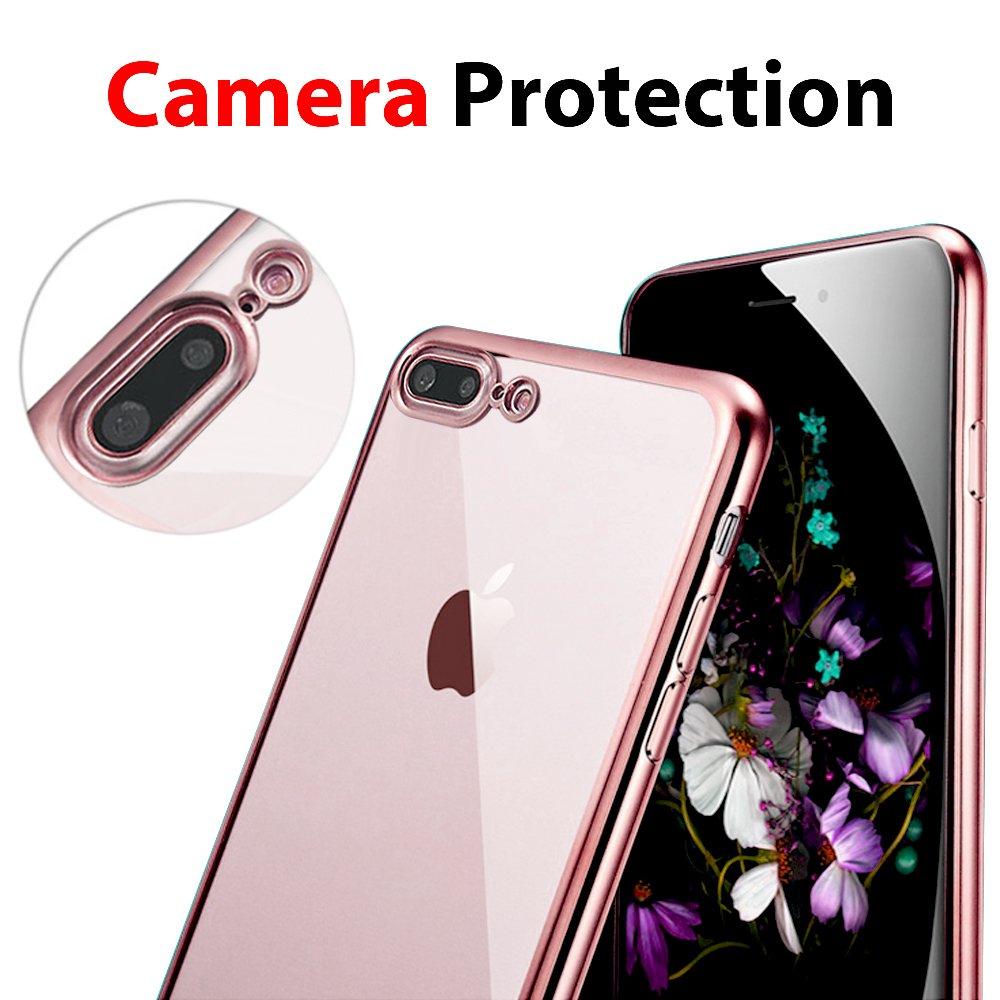 Slim Silicona Case Cover para iPhone 7 Plus//iPhone 8 UBEGOOD Funda iPhone 7 Plus Shock-Absorci/ón Rose Case iPhone 7 Plus//iPhone 8 Funda Carcasa Case Bumper Funda iPhone 8 Plus Anti-Ara/ñazos
