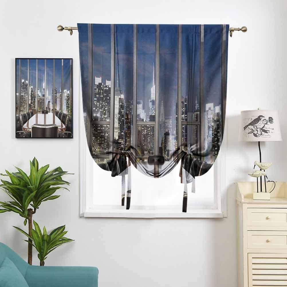 Dasnh Polyester Roman Curtain Business Office Conference Room Table W36 x L72 Rod Pocket Panel for Small Window
