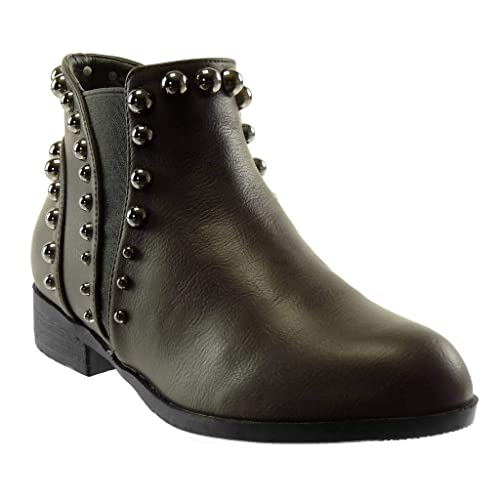 8d90bc61fbb Angkorly - Women s Fashion Shoes Ankle Boots - Booty - Chelsea Boots - Pearl  - Studded