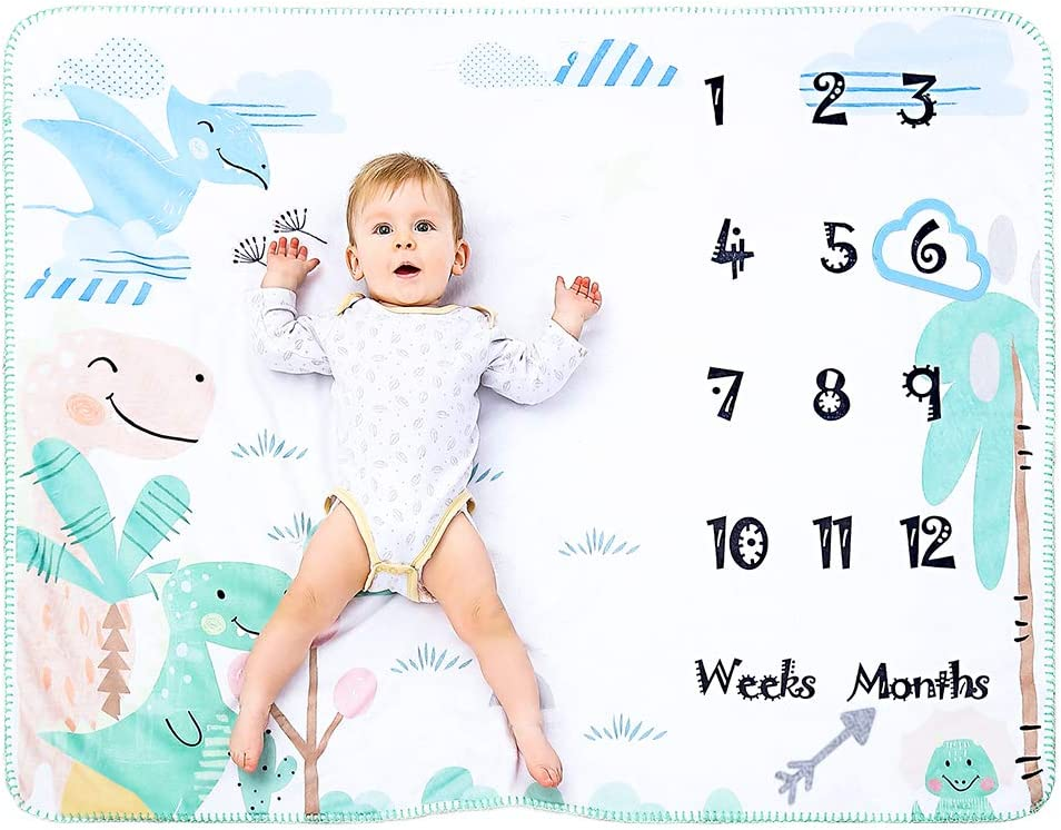 Manta Polar Bebe Con Hito Mensual Fotografia Suave, Mantitas Bebe Recien Nacido, Manta Arrullo Bebe para Niña & Niño Blanco 120 * 100cm (Dinosaurio)