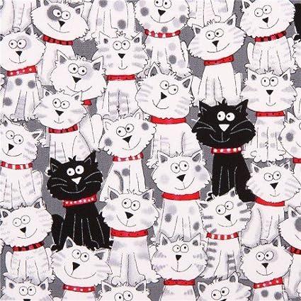 Tela gris de animales con gatos blancos y negros Timeless Treasures