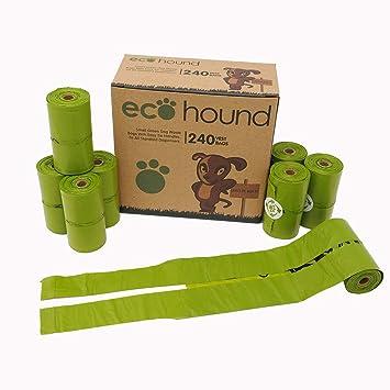 240 bolsas para excrementos de perro de Ecohound, con asas, rollos de bolsas biodegradables