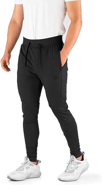 Contour Athletics Men's Joggers Hydrafit Track Pants Men's Sweatpants Active Sports Running Workout Pant Zipper Pockets