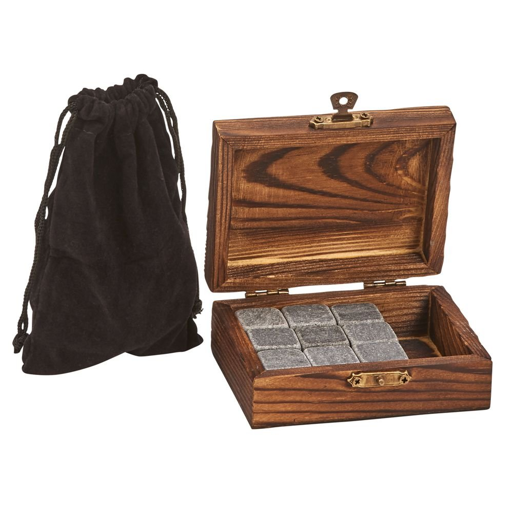 Creative Gifts International CGI Wood Box with 9 Whiskey Stones & Pouch