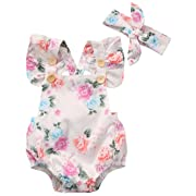 Newborn Baby Girls Clothes Outfits Floral Jumpsuit Romper Playsuit + Headband Set (6-12 Months)