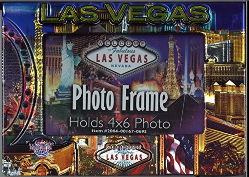 Las Vegas Strip Pictures (LAS VEGAS STRIP BLUE SKYLINE 2-D PICTURE FRAME (HOLDS ONE HORIZONTAL 4 X 6 PHOTO))