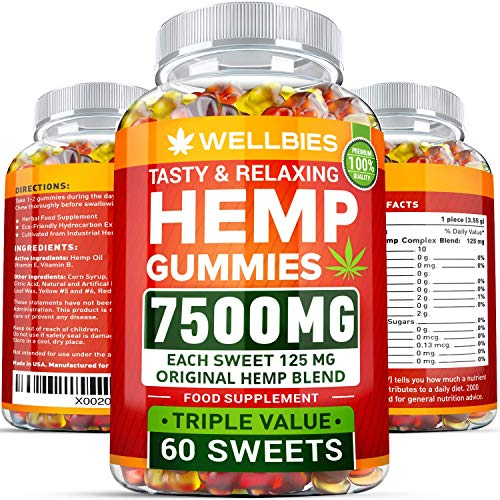 Premium Hemp Gummies - Natural Hemp - Made in USA - King Size 7500MG - Boost Memory Function, Improved Sleep, Support Good Mood - Fast Results - Rich in Vitamins B, E, Omega 3, 6, 9 ()