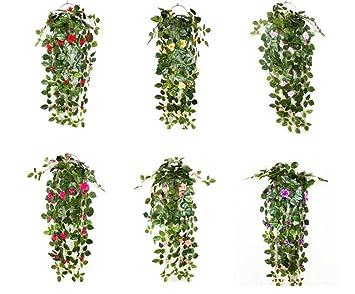 Hängende Kunstpflanzen Künstliche Efeugirlande Mit Blumen Für Hochzeit  Party Garten Wanddekoration (Rosarot)