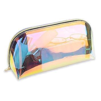 5e2fd014e8 Amazon.com   Gabrine Womens Clear Transparent Hologram Cosmetic Bag Handbag  Clutch Bag Makeup Travel Wash Bag   Beauty