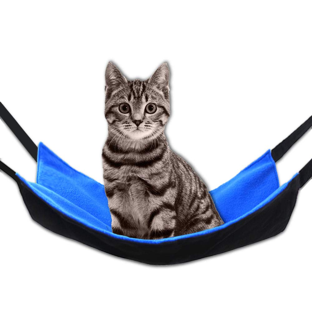 HOPET Cat Hammock, Pet Dog Small Animal Cage Hammock Bed Squirrel Guinea-Pig Chinchilla Hammock Mat Pad Hamster Ferret Hanging Bed Comforter (18.5 x 14.7 inches, Blue)
