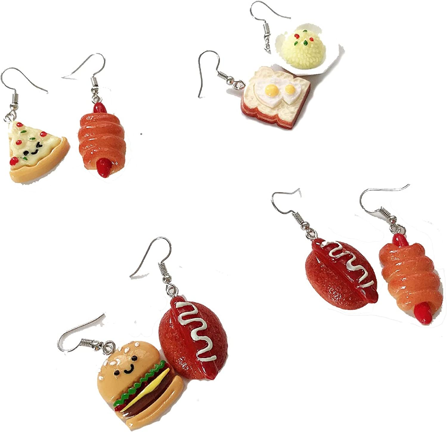 4-12 Pairs Handmade Resin Simulation food Croissant French Bread Toast Dangle Drop Earrings Cute Unique Donut Sandwich Pizza Hamburger Earrings Set for Women Girls Jewelry