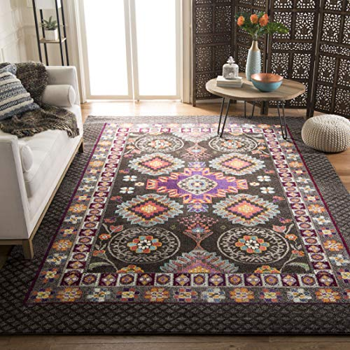 Safavieh Monaco Collection MNC240B Modern Bohemian Geometric Brown and Multi Distressed Area Rug (6'7