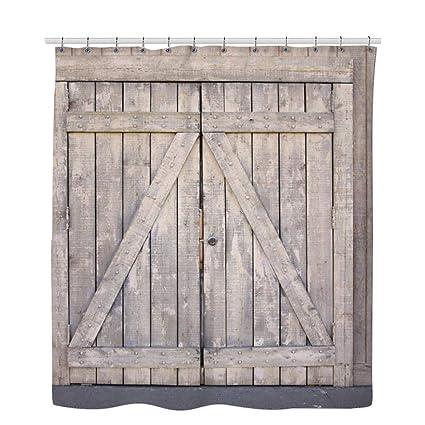 TownLights Barn Door Shower Curtain Pottery Wooden Rod