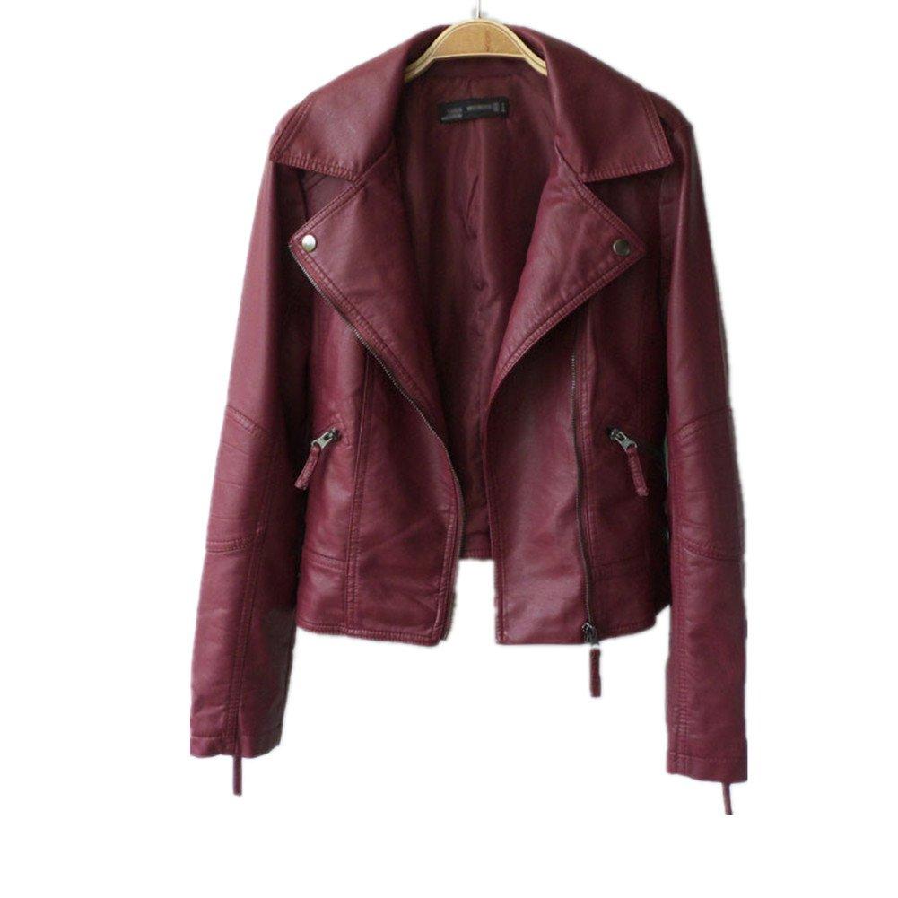 VANGULL Women Ladies Zipper Slim Biker Motorcycle PU Leather Jackets Punk Rock Coats (S, Red)